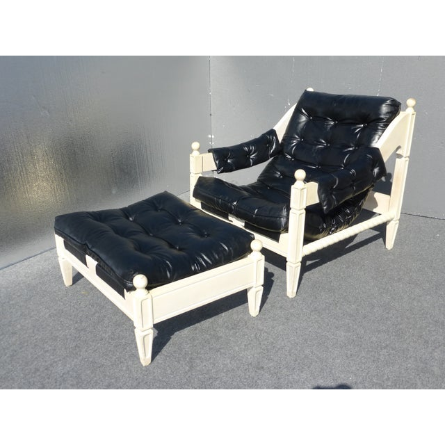 Mid-Century Black & White Chair & Ottoman - Image 2 of 11