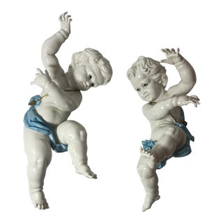 Algora Spanish Porcelain Cherubs Wall Decor - A Pair