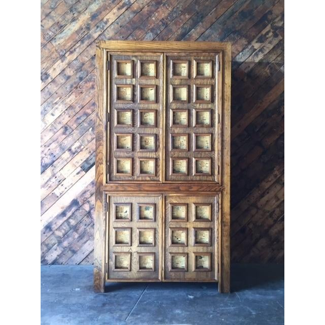 Vintage Wood and Cork Brutalist Armoire - Image 2 of 9