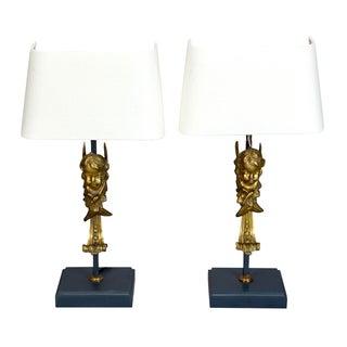 19th Century Italian Bronze Putti Cherub Lamps - Pair