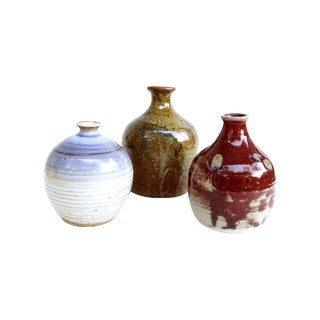Vintage Midcentury Studio Pottery Vases - Set of 3