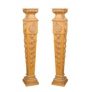 Mid-19th Century English Tall Carved Pedestals with Marble Tops