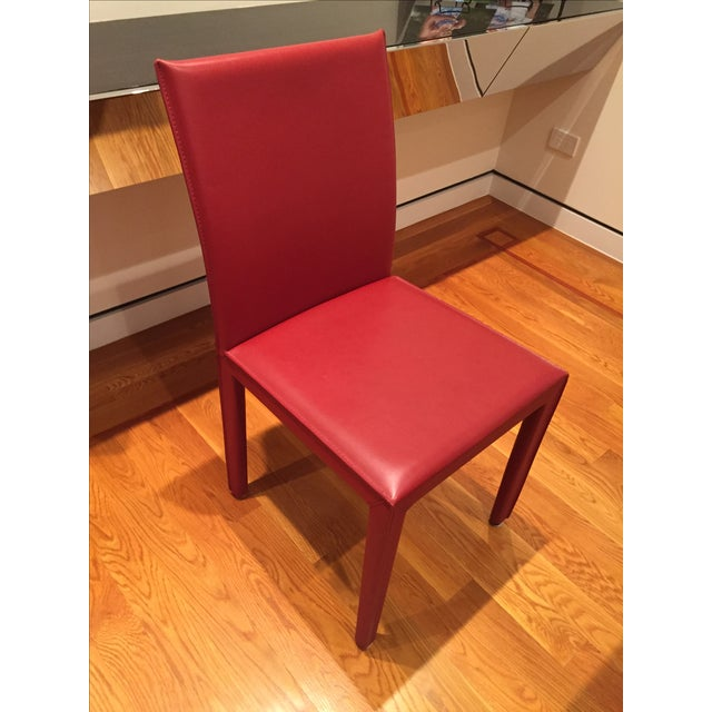Red Leather Dining Chairs - Set of 10 - Image 2 of 8