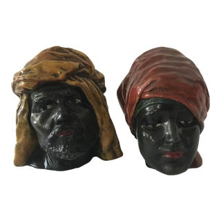 Vintage North African Plaster Head Sculptures- Set of 2