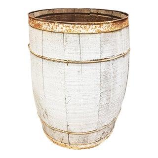 Vintage Rustic White Wood Nail Keg