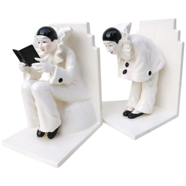 Art Deco Ceramic Mime Bookends - A Pair - Image 1 of 7