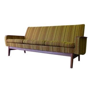 Mid Century Modern Tweed + Teak Sofa