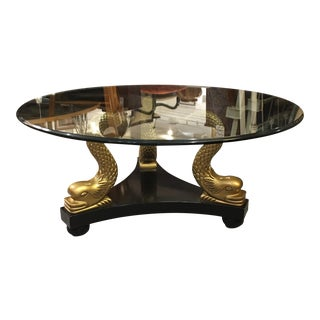 Round Glass Asian Sea Serpant Base Coffee Table