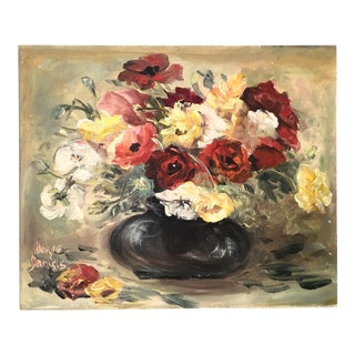 Original Vintage Red Rose Painting