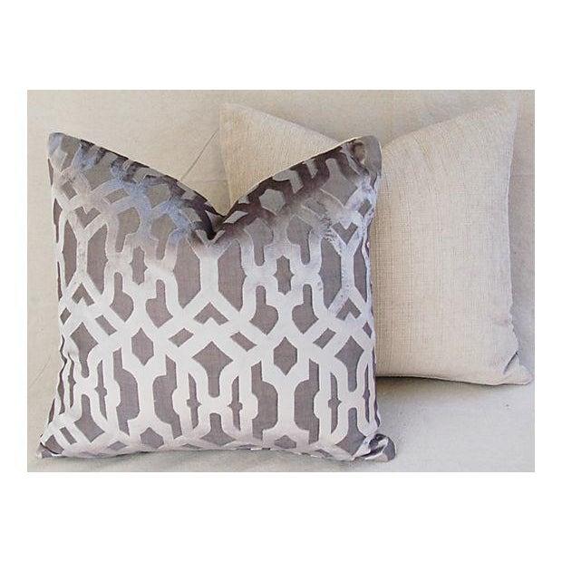 Designer Gray Geometric Trellis Pillows - A Pair - Image 5 of 8