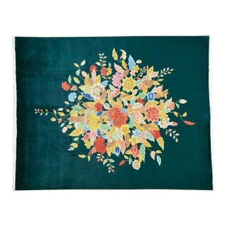 Floral Chinese Art Deco Dark Green Hand-Knotted Rug - 8′ × 10′1″