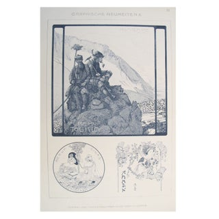 German Decorator Print C.1900 - Mountaineering