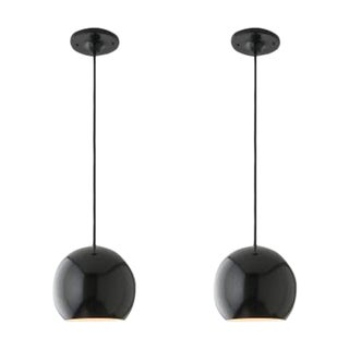 Black School House Electric Isaac Pendants - Pair