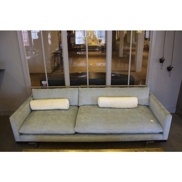 Bonn Blue/Gray Brushed Cotton Sofa & Pillows - Image 3 of 6