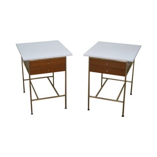 Paul McCobb Brass Side Tables - A Pair