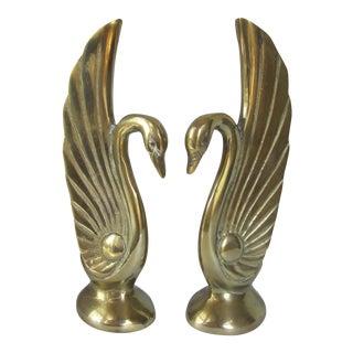 Art Deco Brass Swans - Pair