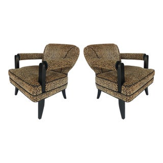 Leopard Print Velvet Club Chairs - A Pair