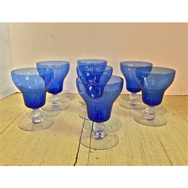Venetian Mouth Blown Cobalt Wine Stems - S/7 - Image 2 of 7