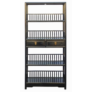 Chinese Distressed Black Bookcase