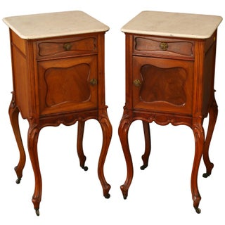 1900 French Louis XV Rococo Nightstands - Pair