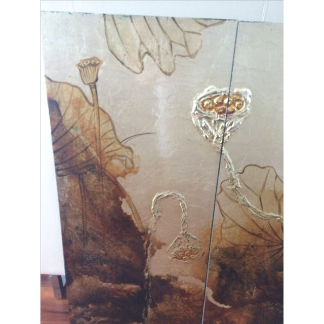 Vintage Asian Lacquer Four Panel Art - Image 4 of 7