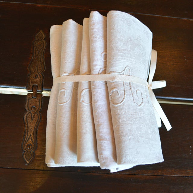Antique French Dinner Napkins - Set of 5 - Image 2 of 5