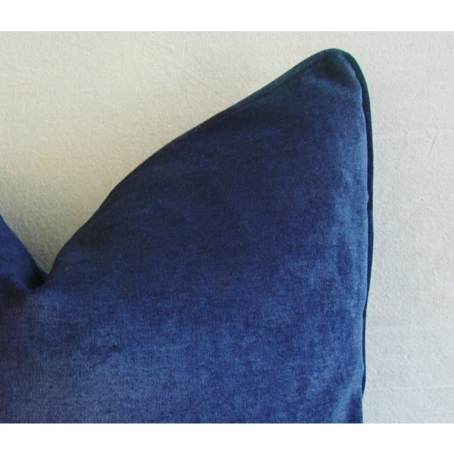 Large Designer Midnight Blue Velvet Feather/Down Pillows - Pair - Image 10 of 10