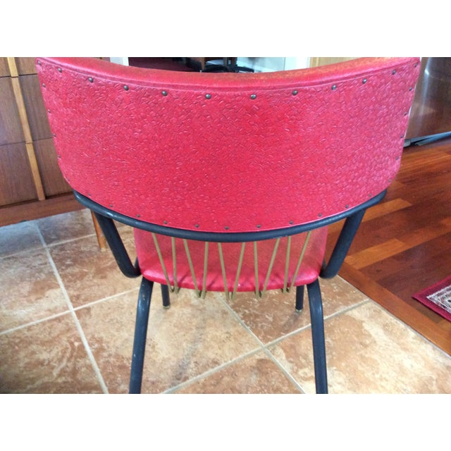 Mid-Century Red Vinyl Dining Chair - Image 5 of 8