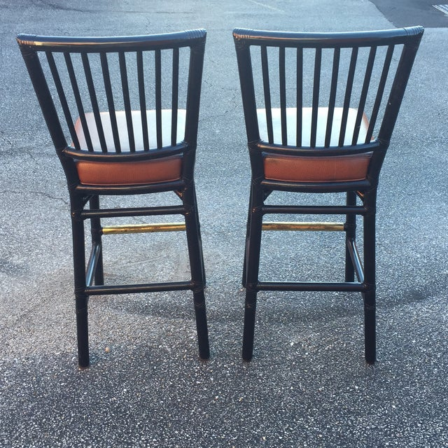 Vintage McGuire Rattan Brass Bar Stools- A Pair - Image 4 of 11