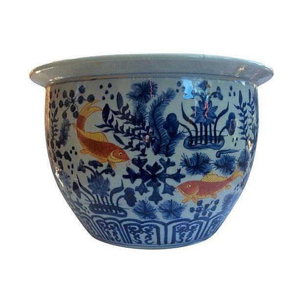 Blue & White Jardinière with Goldfish - Image 1 of 5
