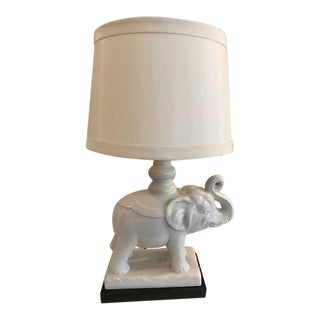 Vintage White Elephant Lamp