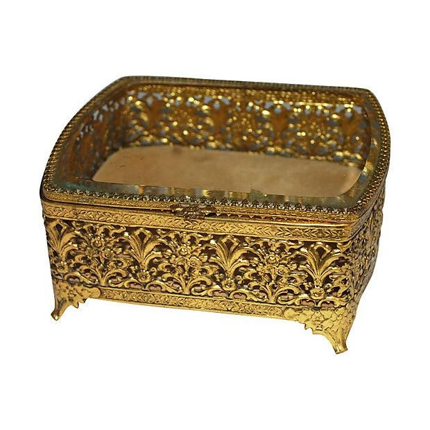 Hollywood Regency Gold Filigree Jewelry Box - Image 1 of 3