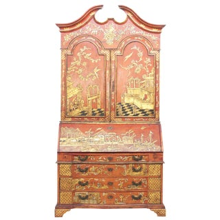 Georgian-Style Red Chinoiserie Secretary