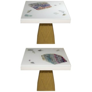 Pair of Cast Resin and Flourite Coffee Tables by Michael Laut / 6987