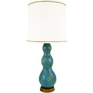 Aqua Blue Triple Gourd Form Pottery Table Lamp
