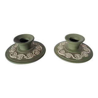 Wedgwood Candlesticks in Jade - A Pair