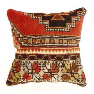 Pasargad Vintage Hand Knotted Orange Rug Pillow