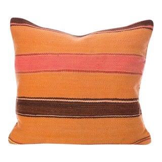 Vintage Striped Flatweave Moroccan Wool Pillow