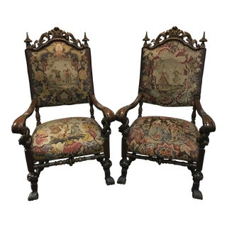 Walnut Needlepoint Throne Chairs - A Pair