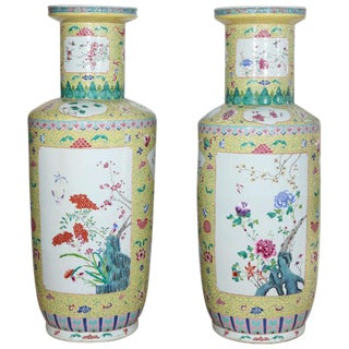 Pair of Famille Rose Style Urns