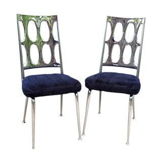 Chromcraft Chrome & Navy Dining Chairs - A Pair