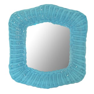 Vintage Aqua Wicker Mirror