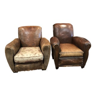 1920s Vintage French Leather Club Chairs - a Pair