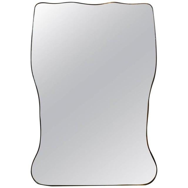 Italian Gio Ponti Inspired Brass Mirror - Image 1 of 7