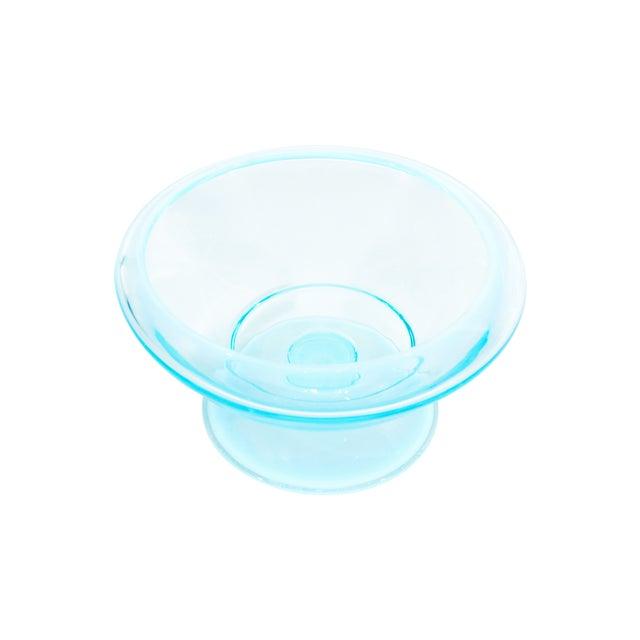 Teal Glass Pedastal Bowl - Image 2 of 2