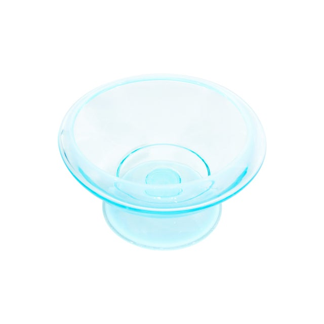 Image of Teal Glass Pedastal Bowl