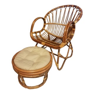 Rattan Franco Albini Bentwood Scoop Chair & Ottoman