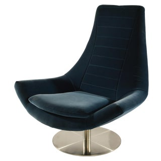 Italian Swivel Lounge Chair in Blue