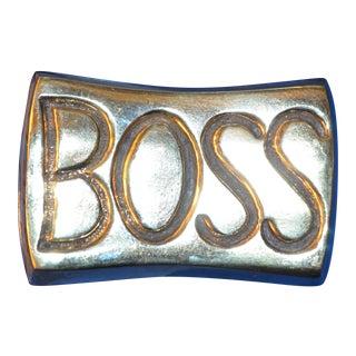 Vintage Brass Boss Paperweight