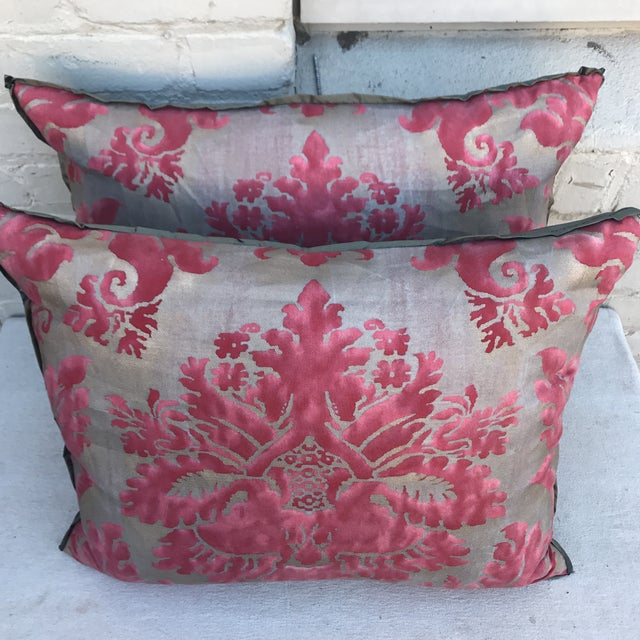 Pink & Gray Fortuny Pillows - A Pair - Image 4 of 5